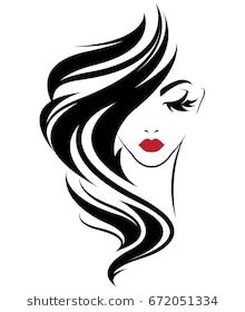 illustration of women long hair style icon, logo women on white.