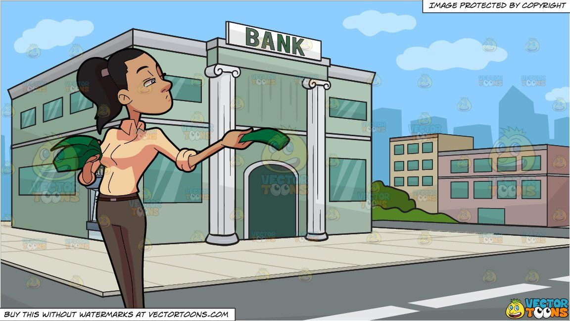clipart #cartoon A Woman Handing Out Money and Outside A.