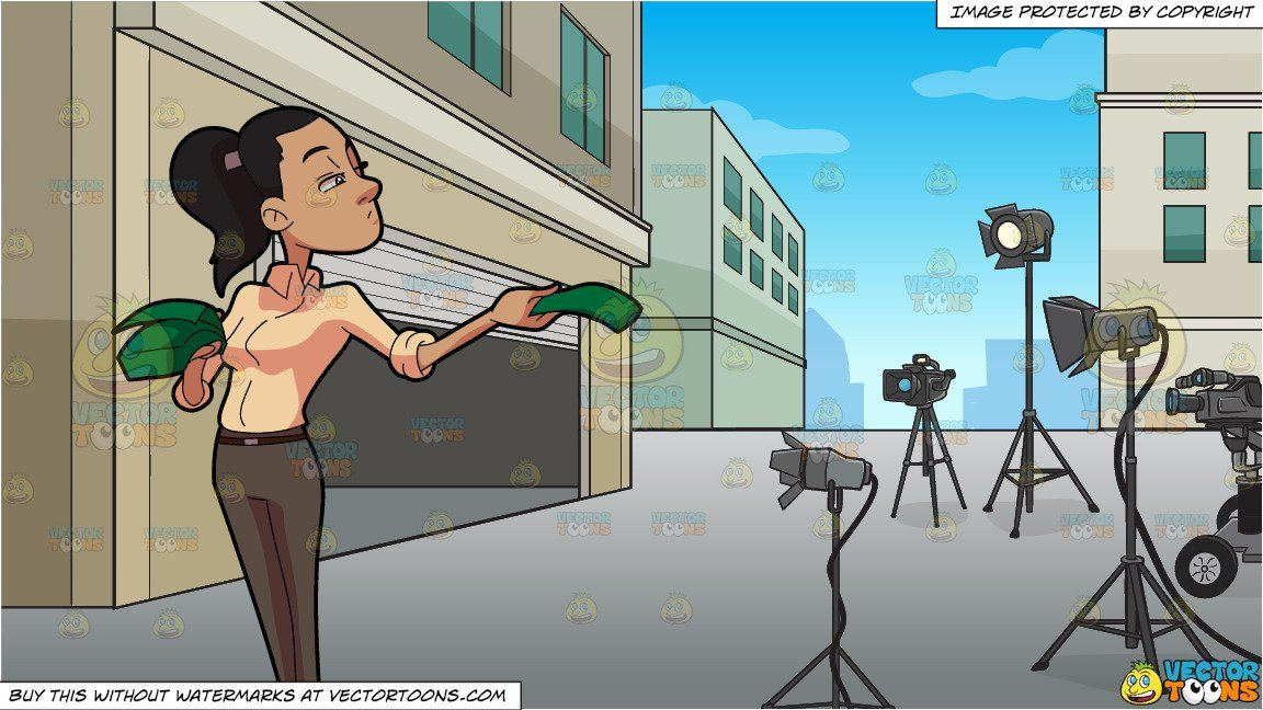clipart #cartoon A Woman Handing Out Money and A Film Set.