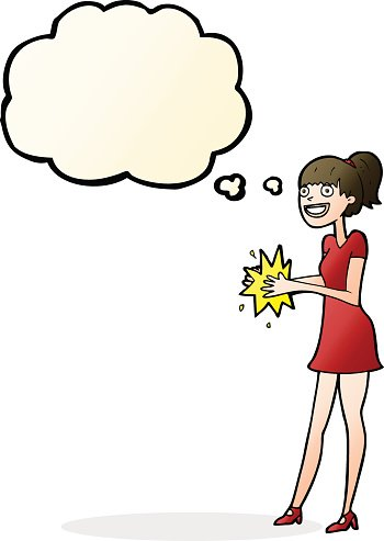 cartoon woman clapping hands with thought bubble Clipart.