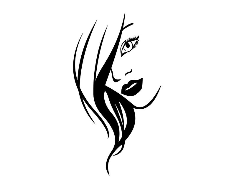 Woman Face SVG, Woman Head SVG, Lady Face SVG, Female Head, Lady Decal,  Woman Silhouette, Hair Silhouette, Woman Clipart, Instant Download.