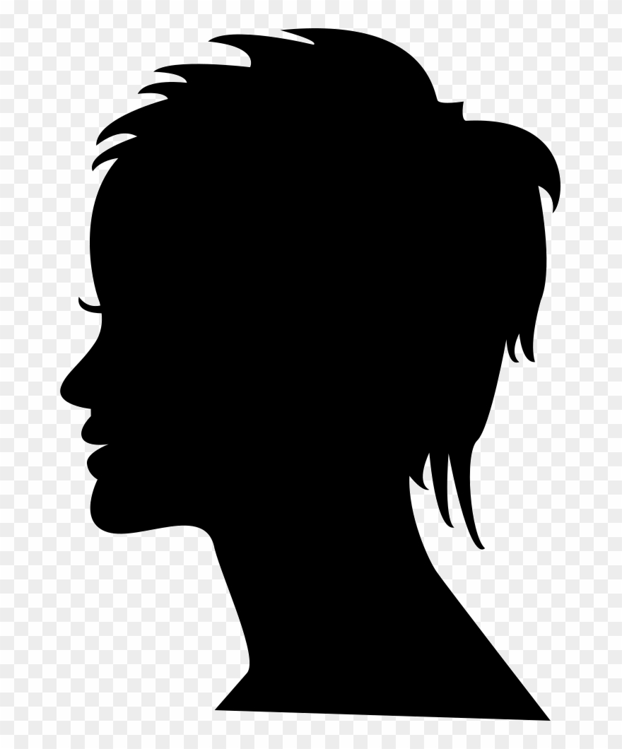 Short Female Hair On Side View Woman Head Silhouette.