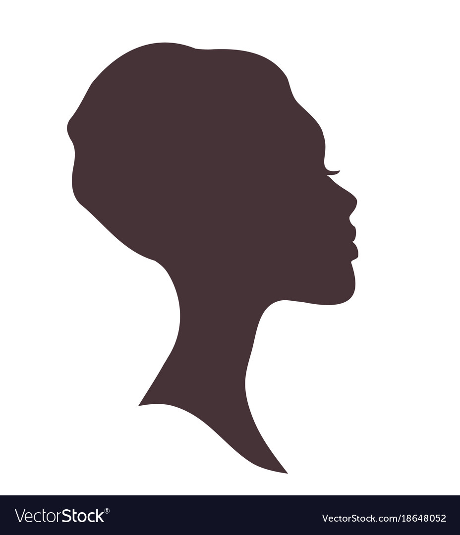 Woman Head Silhouette Vector.