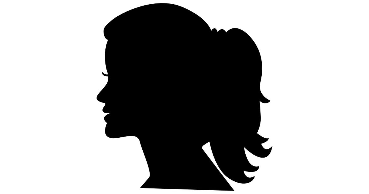 Woman head side silhouette.