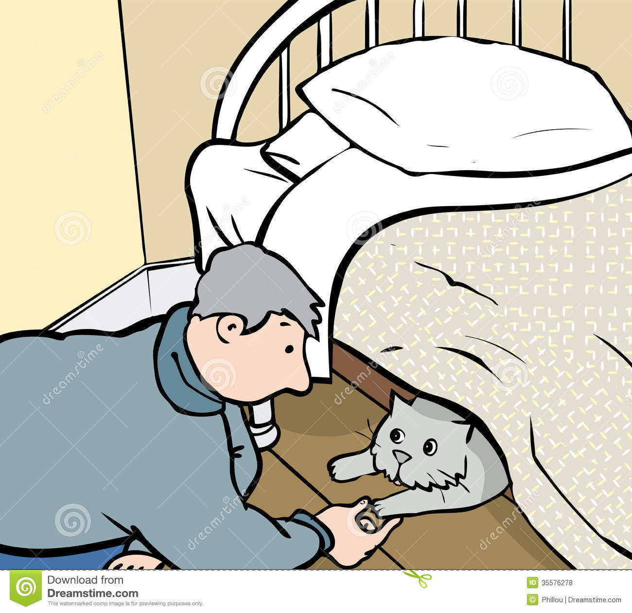 Cat Under The Bed Clipart.