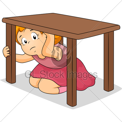 Girl Hiding Under Table · GL Stock Images.