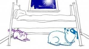 Cat under bed clipart.