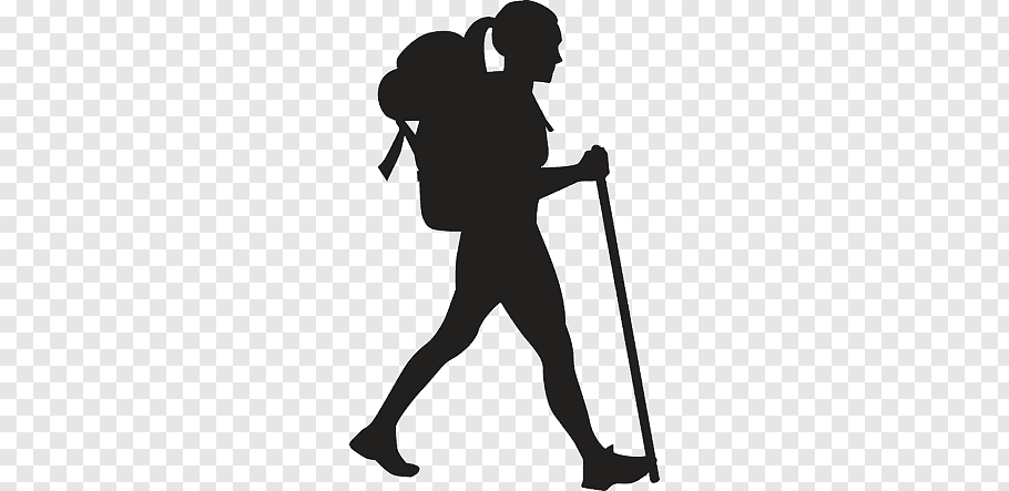 Hiking Silhouette, Silhouette free png.