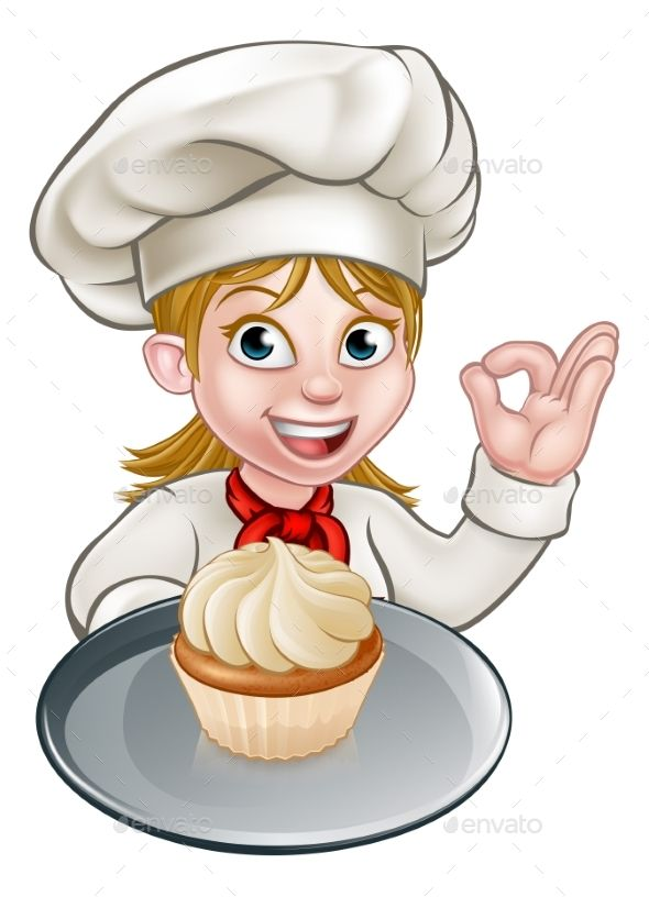 A woman chef or baker cartoon character holding a plate with.