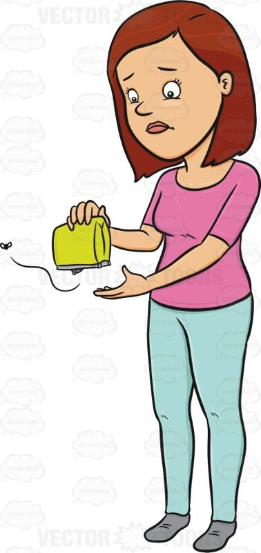 Upset Woman Holding Her Wallet #currency #disappointed.