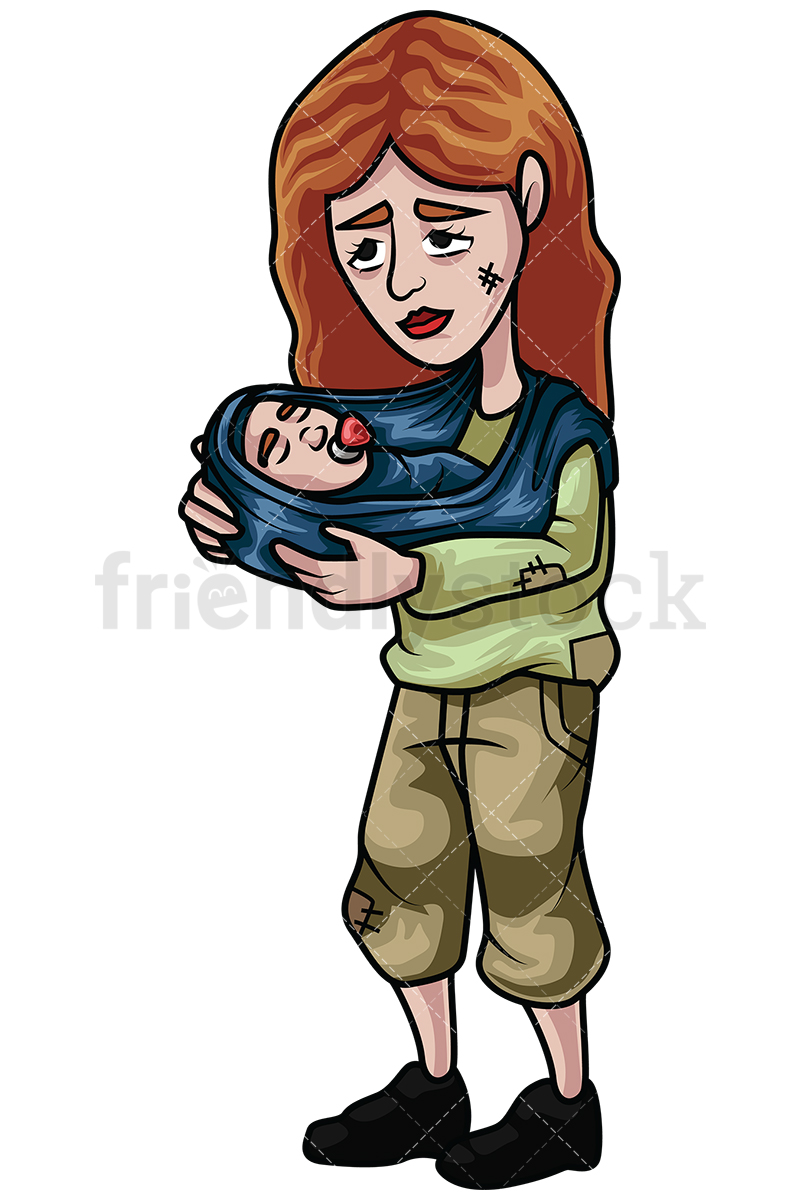 Homeless Woman Holding A Baby In Her Arms.