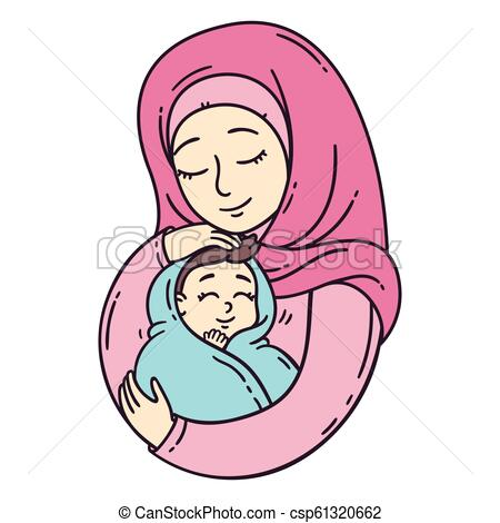 Muslim mother holding baby..