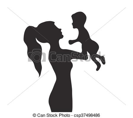 Woman with a baby silhouette. Girl holding baby vector illustration.