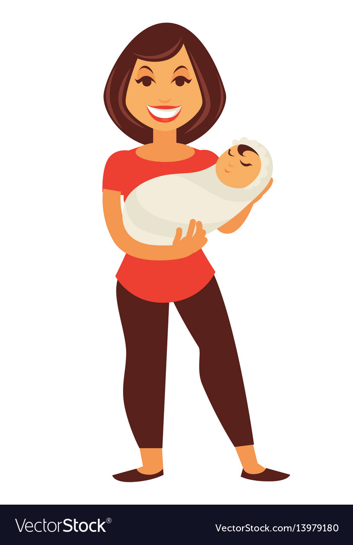 Young mother woman holding newborn baby child.