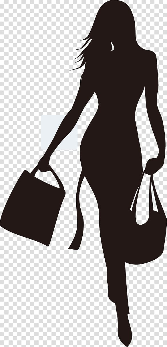 Woman holding bags silhouette illustration, Fashion Shopping.