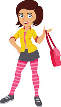 Girl With Bag Clipart.