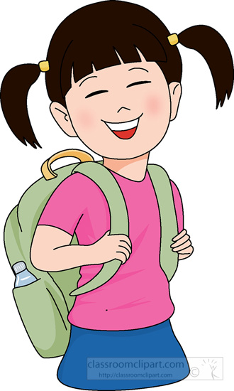 School student with school bag clipart.
