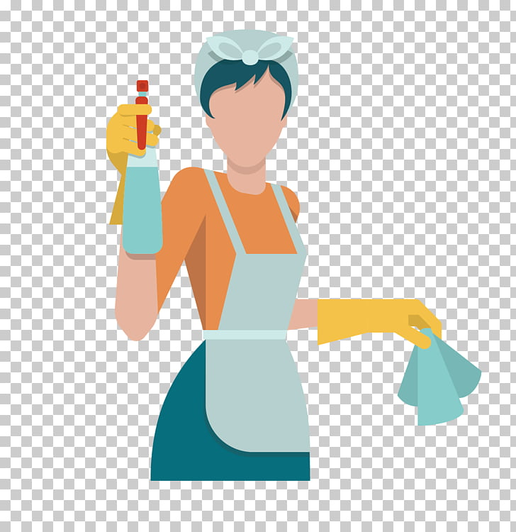 Cleaning Icon, Flat pack kitchen woman, woman holding home.