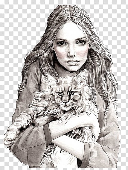 Girls, woman holding cat illustration transparent background.