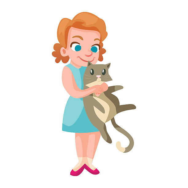 Girl Holding A Cat Clipart.