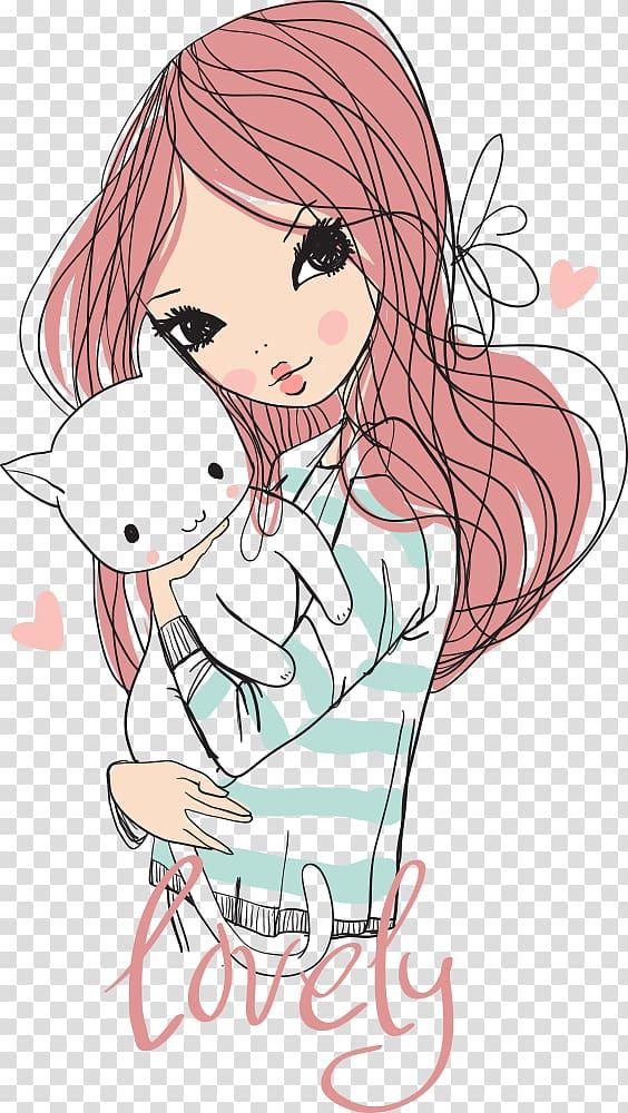 Cat Girl Cuteness Drawing , girl holding a kitten, girl.