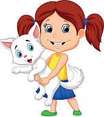 Girl Holding Cat Clipart.