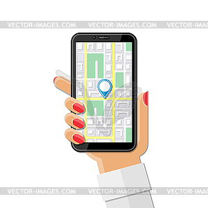 Woman`s hand holding phone with mobile map gps.