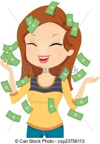Girl With Money Clipart.