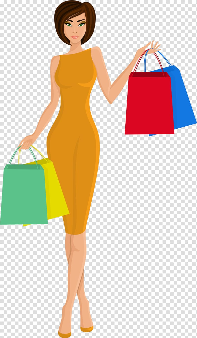 Woman holding paper bags art, Shopping Bag, Beautiful woman.