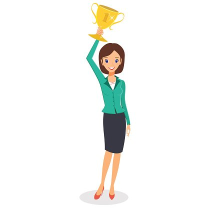 Business woman winner holding up trophy Clipart Image.