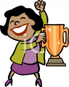 A Colorful Cartoon of an Ethnic Woman Holding a Trophy Cup.