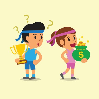 Sport man holding trophy and sport woman holding money bag.