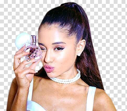 Ariana Grande, woman holding perfume bottle transparent.