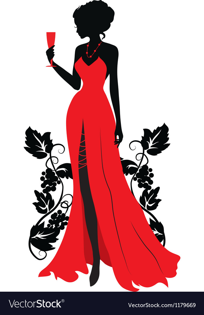 Woman With Wine Glass Silhouette.