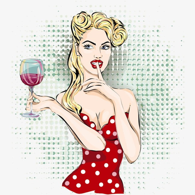 Woman holding red wine PNG clipart.