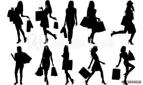 Woman Shopping Silhouette.