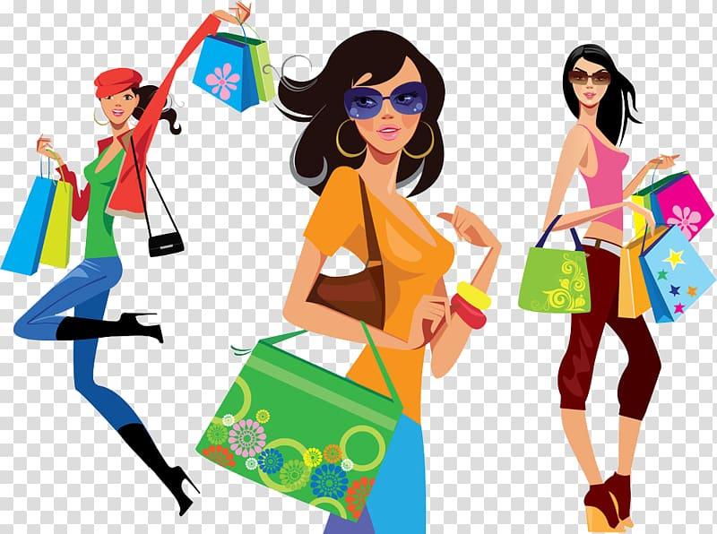 Shopping Girl Illustration, Three happy women creatives.