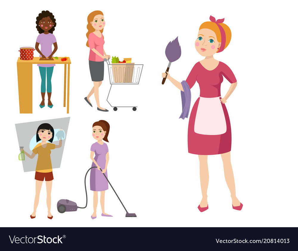 Housewifes homemaker woman cute cleaning cartoon.