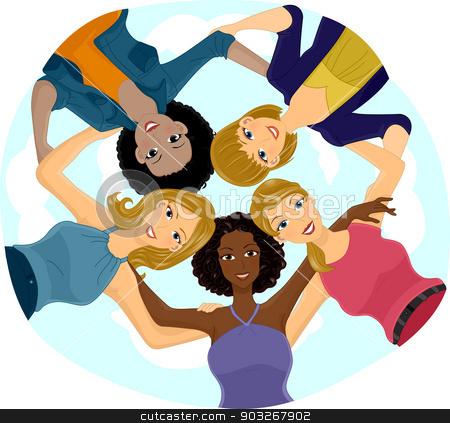 Girl Team Huddle stock vector.