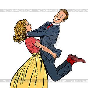Meeting lovers. man and woman hugs. girl carries gu.