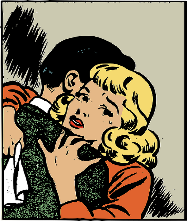Romantic Retro Comic Couple Hugging.
