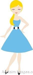 Woman In Blue Dress Clipart.