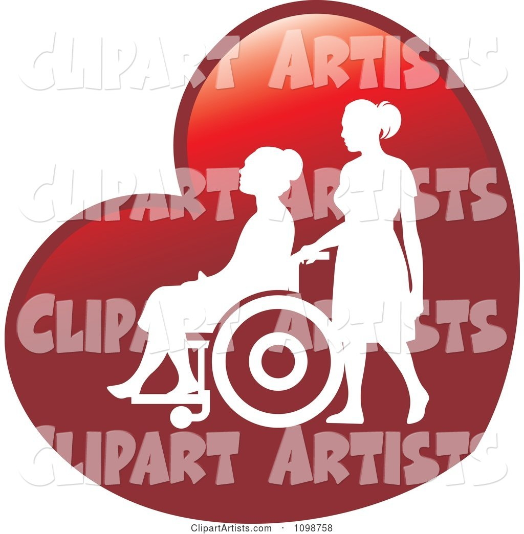 Silhouetted Nurse Helping An Elderly Woman In A Wheelchair.