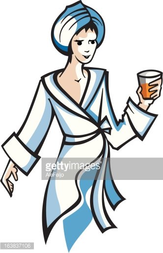 Woman in bathrobe Clipart Image.