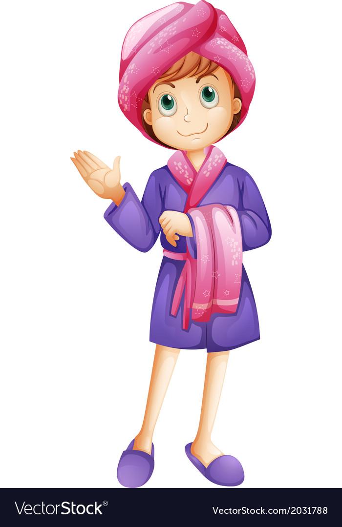 A fresh girl wearing a bathrobe.
