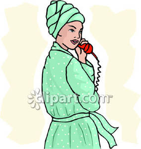 Woman In Bathrobe Talking on the Phone.