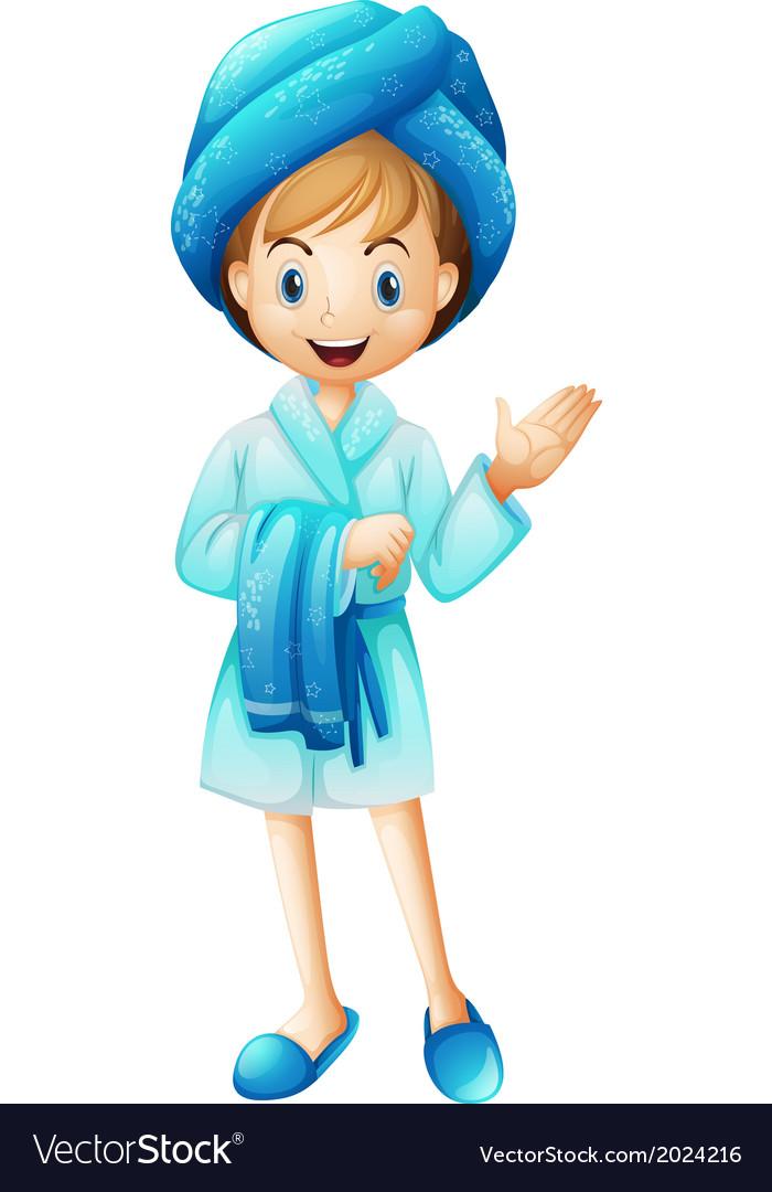 A fresh girl with her bathrobe.