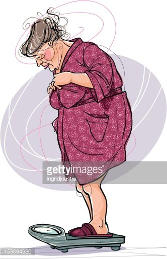 Heavy overweight elderly woman in bathrobe Clipart Image.