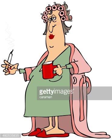 Woman in a bathrobe Clipart Image.