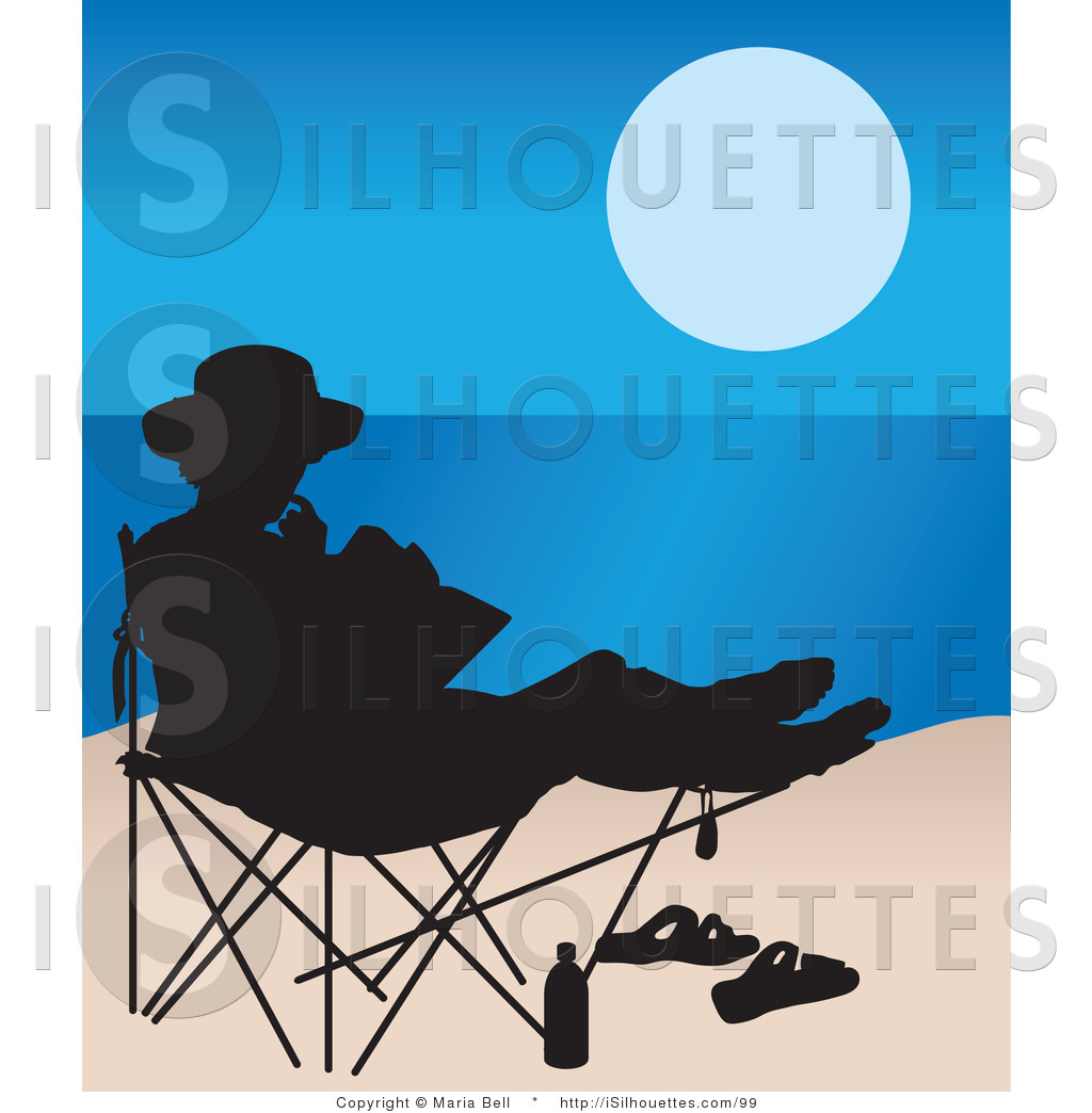 Silhouette Clipart of a Woman Reading in a Beach Chair by.